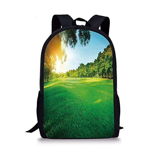 rass Field in The Park Morning Sun Rays Forest Flourishing Spring Print Decorative,Baby Blue Lime Green for Boys&Girls Mens Sport Daypack ()