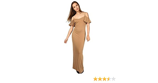 Ladies Womens Off The Shoulder Bardot Strappy Open Cold Frill Cami Maxi Dress