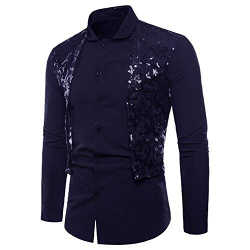 UJUNAOR Herren Langarm Oxford Formelle beiläufige Anzüge Slim Fit T-Shirt Kleid Shirts Spitze Patchwork Bluse Top(2XL,Marine)