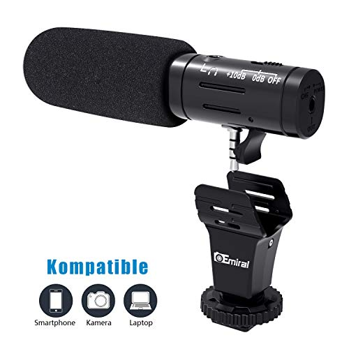 Emiral Smartphone Mikrofon/Kamera Mikrofon , Emiral Metall Video Mikrofon mit 3,5mm Klinkenstecker und Blitzschuheadapter, externes mikrofon für iPhone und Android-Geräte (Iphone Mikrofon Für Video)