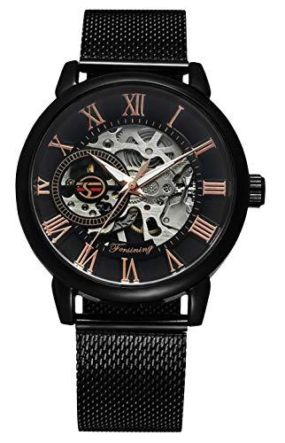 Herren Automatik Uhren, Mechanische Analoge Uhr mit Edelstahl Maschen Band, Schwarz Männer Skelett Handaufzug Automatische Armbanduhr für Herren