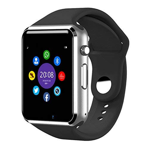 Jokin Bluetooth A1 Smart Watch Touchscreen Multi Function with Camera, Sim Card and Multilanguage Support Compatible with All Smartphones (Silver)