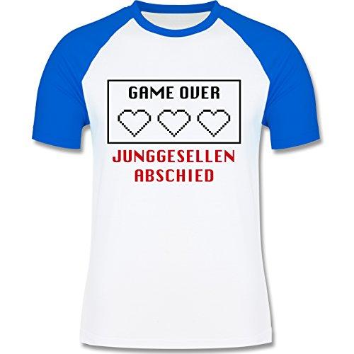 JGA Junggesellenabschied - Game Over Herzen - zweifarbiges Baseballshirt für Männer Weiß/Royalblau