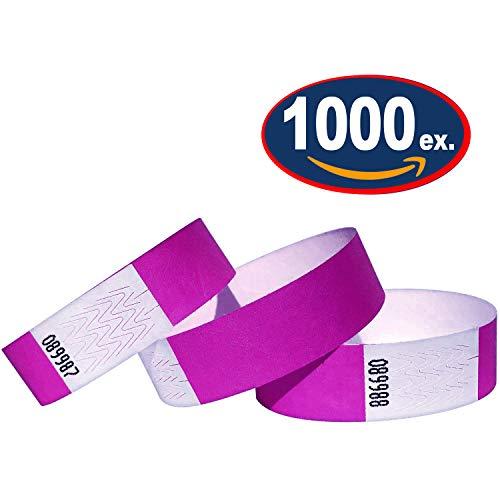 Tyvek 19mm 1000 Stück Event Armbänder 1000 Pack violett (Tyvek-armbänder 1000)
