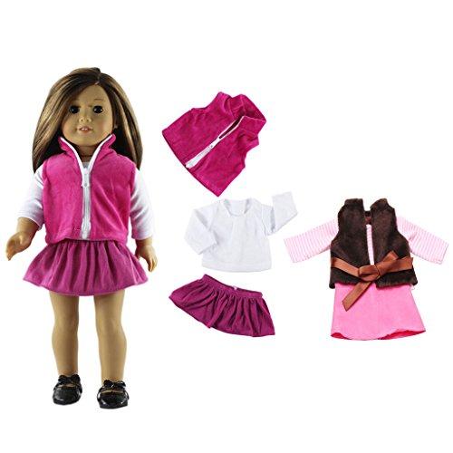 Sharplace 2 Sätze Puppen Kleidung Hemd Weste Rock Für 18 Zoll American Girl Puppe Dress up