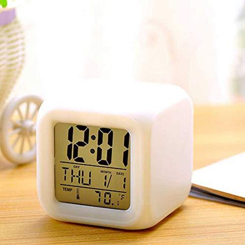 YIDAINLINE Digitaler Wecker Led Nachtlicht Würfel Uhr, Thermometer Nachtleuchtende Würfel Wecker Kinder leuchten Uhr Farbwechsel, elektrischer Kalender Nachttischuhr Modern für Erwachsene Schlafzimmer (Moderne Uhr Und Kalender)