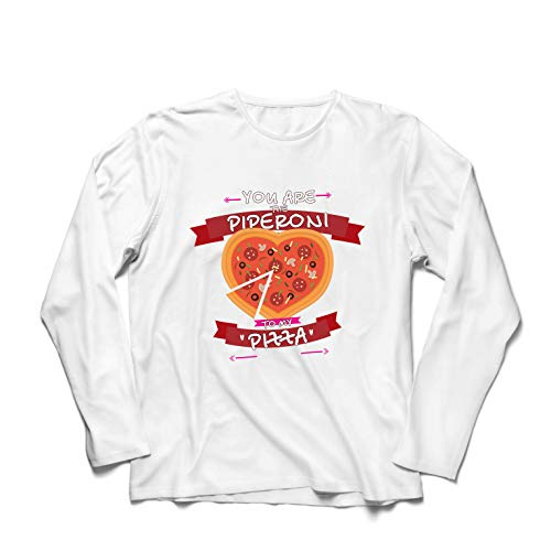 7b07afe7 lepni.me T-Shirt Manches Longues Homme The Piperoni to My Pizza -  Valentine's
