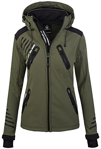 Rock Creek Damen Softshell Jacke Outdoorjacke Windbreaker Übergangs Jacke [D-390 Army Green XXL]