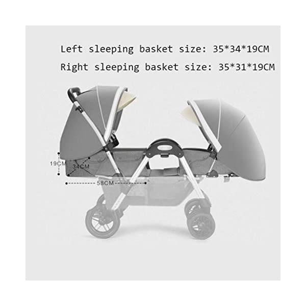 LjfⓇHot Mom Baby Carriage Twins Pushchair can sit down and fold babies face to face Trolley Double Double Reclining can sit down and fold up LjfⓇ ❤ Stroller 2 in 1 Ultralight Folding Seat Can Lying High Landscape Umbrella Baby Trolley Travel System Stroller ❤ Stadium-style seating with a slightly higher back seat so both kids can see the world around them ❤ The rear seat is suitable for newborns as it has a full flat mechanism, while the 2 position rear seat is suitable for babies over 6 months at the front 5