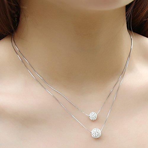 RAN Sterling Silber Doppel Halskette Weiblichen Kurzen Clavicle Kette Anhänger Paar Modeschmuck
