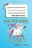 Dans mon Monde à moi il n'y a que des Licornes: Un cahier scolaire à pages vierges pour écrire et dessiner, au Thème licorne pour fans