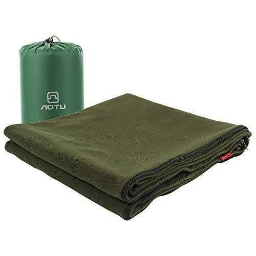 Blanketswarm Mikrofaser-Fleece Reißverschluss Schlafsack Leicht Reise Bogen Liner Oder, Decke mit Aufbewahrungstasche für Outdoor Camping kaltem Wetter Klima