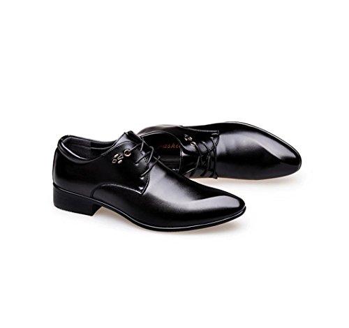 HYLM I vestiti di affari degli uomini di scarpe hanno indicato i pattini di cerimonia nuziale di cuoio genuino per gli uomini Black
