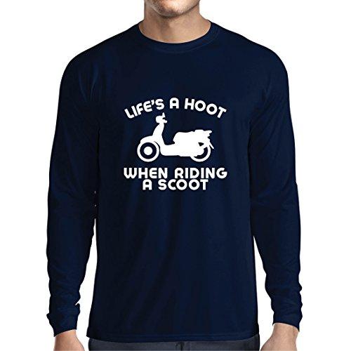 Langarm Herren t Shirts Das Leben ist EIN Lachen beim Fahren eines Rollers, Humor Slogans, Sprüche, inspirierende Zitate (XX-Large Blau Mehrfarben)