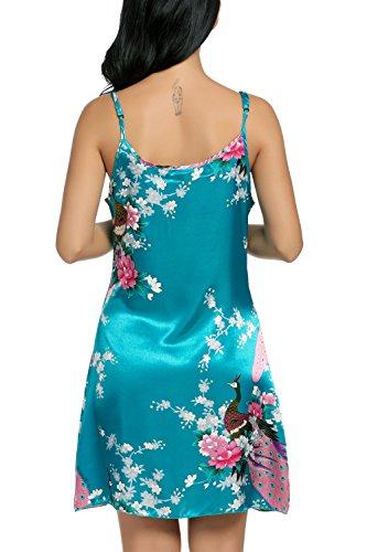 Avidlove Femme Chemise de Nuit en Satin Nuisette Bretelles Reglables Robes Peignoir Style Japonais perse