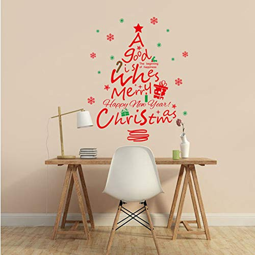 Qbbes Christmas Window Glass Red Christmas Tree Pvc Wall Stickers Removable Decals Mural Decal Removable NewDiy Wall Sticker 45X60Cm -