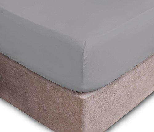 Drap-housse pour matelas jusqu'à 40cm d'épaisseur - 16 Couleurs disponibles, 50 % coton, 50 % polyester, Silver, Super king