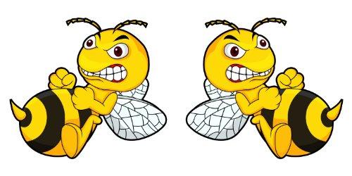 """2er Set Aufkleber \""""Böse Biene, Angry Bee\"""", je 15x9cm, Art. Nr. kfz_099 2er, außenklebend für Auto, LKW, Motorrad, Moped, Mofa, Roller, Fahrzeuge, UV- und witterungsbeständig, für Waschanlagen geeignet"""
