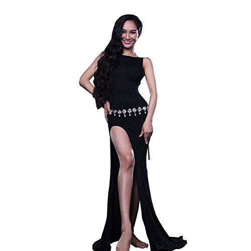 Bauch Dance Kleider Frauen Zurück Hohl Üben Kleidung Modern Leistung Kostüm Lang Rock Black M