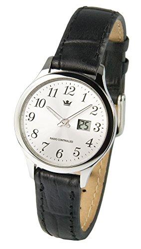 Elegante Damen Funkarmbanduhr (Junghans-Uhrwerk) Edelstahlgehäuse, Schwarzes Lederarmband 964.4006