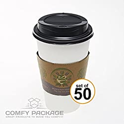 COMFY PACKAGE 50 Sets of 16 Oz. Paper Hot Cups with Dome Lids and Cup Sleeves (Black Dome Lid)