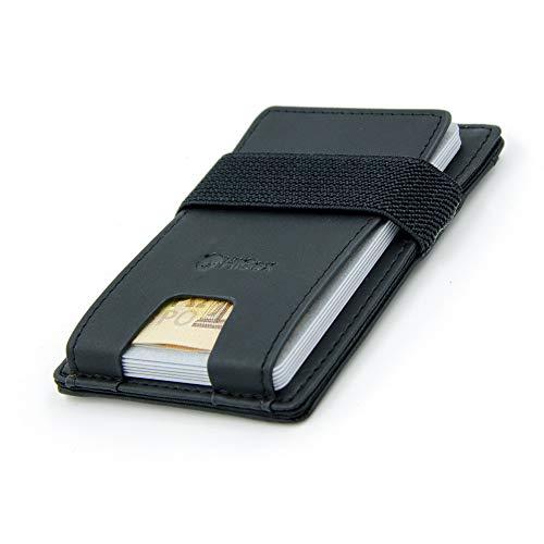 HiGex  Porta Carte di Credito Compatto Sottile | Mini Portafoglio Schermato RFID | 3 Scomparti | Accessorio Uomo Piccolo in Pelle PU Premium | Porta Tessere Schede Patente Badge + Tasca Banconote