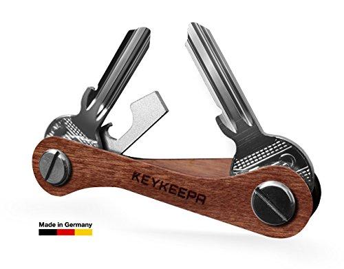 KEYKEEPA aus Holz - Der Schlüssel Organizer MADE IN GERMANY - für bis zu 16 Schlüssel, inklusive Flaschenöffner und Öse (Nussbaum)
