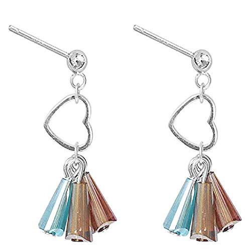 Ohrringe Aus Farbigem Glas Fringe S925 Sterling Silber Ohrringe 26Mm (Aus Bogen Farbigem Glas)