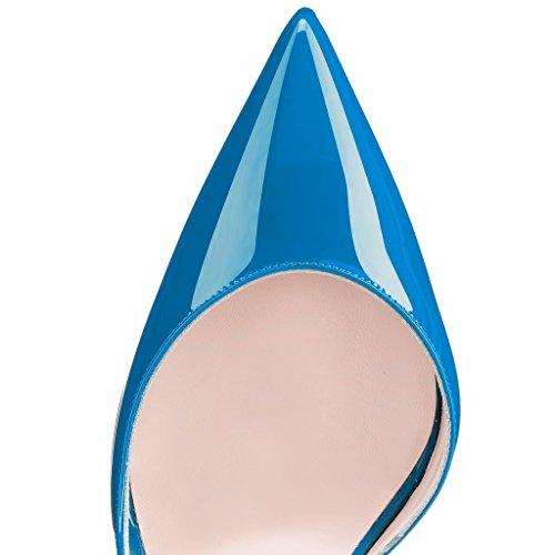 EDEFS Femmes Artisan Fashion Escarpins Classiques Pointus Des Couleurs Chaussures à talon haut 120MM Bleu Bleu