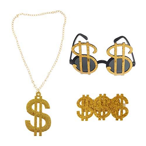D DOLITY 3 Stücke Glänzende Gold USD Dollar Zeichen Ring Sonnenbrille Halskette 80er Rapper Gangster Hip Hop Kubanischen Kette Bling Schmuck Männer Zubehör