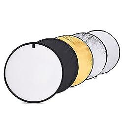 Andoer Faltreflektor/Lichtreflektor, tragbar, faltbar, für Fotostudios, mit Tragetasche mit Reißverschluss, mit 5 Oberflächen, 60 cm