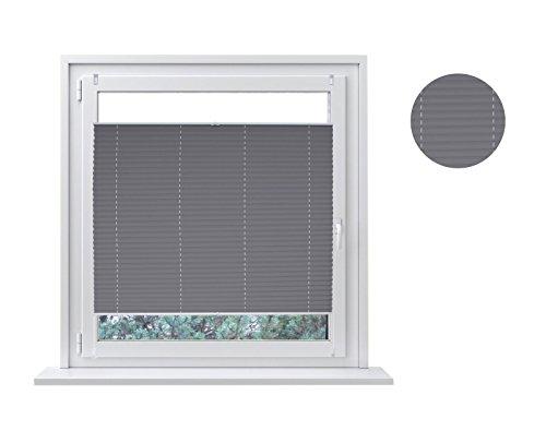 Tenda plissettata, fissaggio senza fori, per protezione dal sole e da sguardi indiscreti, include materiale di fissaggio Easyfix, Tessuto, Grau, 70 x 200 cm