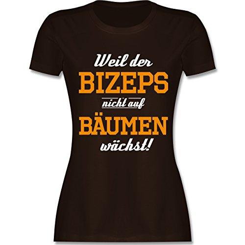 Shirtracer CrossFit & Workout - Weil der Bizeps Nicht auf Bäumen Wächst - Damen T-Shirt Rundhals Braun