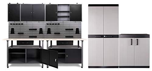 Ondis24 Werkstatteinrichtung 420x60x205 (H) cm, Arbeitshöhe 85 cm, mit 2x MEGA XL Schrank, bestehend aus 2x Werkbank, 3x Werkzeugschrank, Euro-Lochwand mit 22 Haken, Metall, Justierfüße, abschließbar