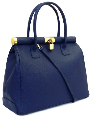 BORSA BAULETTO ART. H VERA PELLE DONNA SPALLA DOTATA DI TRACOLLA MADE IN ITALY LADIES LEATHER BAG - COLORE BLU