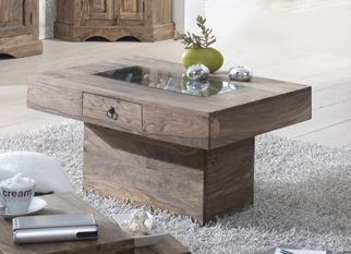 COLONIAL meuble massif sheesham gris Table basse 60x90 palissandre huilé bois massif Robin #20