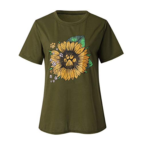 iHENGH Karnevalsaktion Damen Top Bluse Bequem Lässig Mode T-Shirt Frühling Sommer Blusen Frauen Brief Print Tops Kurzarm T-Shirts Bluse(Grün, S)