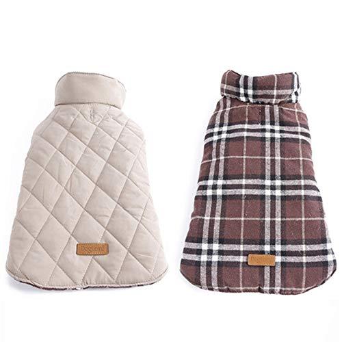 TYJY Wasserdichte Reversible Dog Jacket Warm Plaid Winter Hundemäntel Pet Kleidung Elastisch Klein Bis Groß Hundebekleidung Winter XS -
