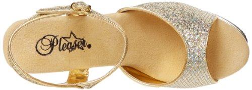 Pleaser REVOLVER-709G Damen Plateau High Heels Gold Multi Gltr/Gold Chrome
