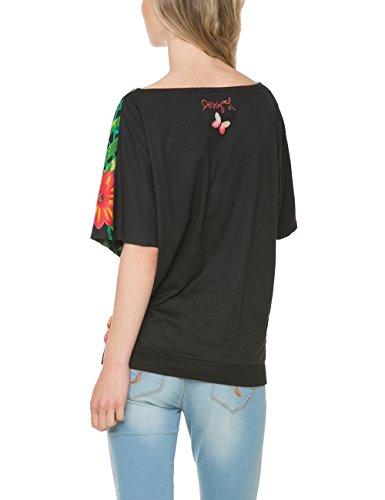 Desigual Eugenia - T-shirt - Imprimé - Manches courtes - Femme Noir (Negro)