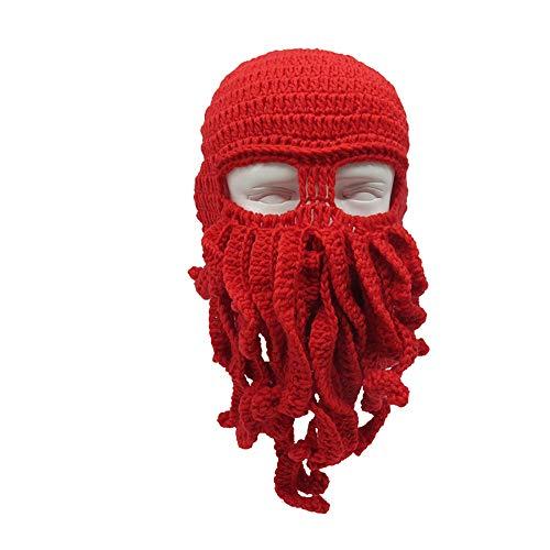 Elwow Herren Damen Handgefertigte witzige Tentakel Octopus Häkelstrick Bartmütze Windmütze Skifahren Hunt Warme Mütze für Halloween Party Geburtstag, rot