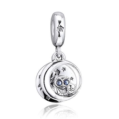 CHICBUY 2019 Otoño siempre a tu lado búho colgante Bead 925 plata DIY encaja para pulseras originales Pandora encanto joyería de moda
