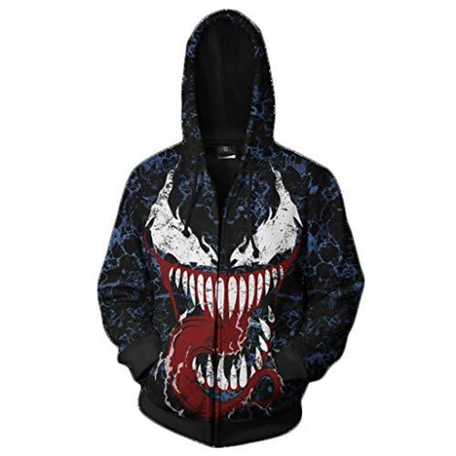 Yujingc Herren 3D Hoodie Cosplay Venom Hoodie Super Hero Pullover mit Reißverschluss Kordelzug Jacke Langarm Sweatshirt für Jungen Herren Oberbekleidung,Blue,L -