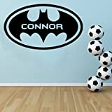 Personalisierte–Batman Kostenlose Rakel. Wall Art Aufkleber/Kinder Schlafzimmer Aufkleber, Vinyl, schwarz, Large - 100cm W x 60cm