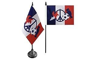 Flaggenfritze® Tischflagge Frankreich Fussball 2016 EM Eiffelturm Peace-Symbol – 10 x 15 cm
