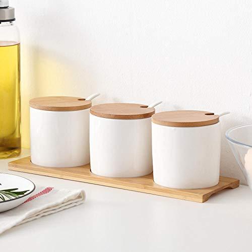 Mini Kitchen Dispenser per condimento per Bottiglia di condimento per vasetti di condimento in Ceramica 3 Pezzi Adatto per peperoni in Polvere agrodolce Peperoncino MSG, ECC.