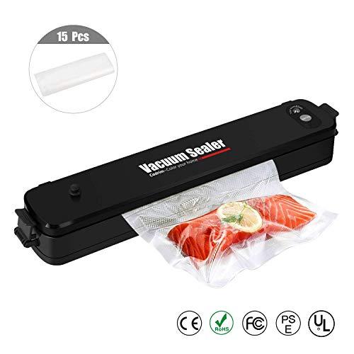 Lebensmittel Vakuumierer Vakuumiergerät - Cadrim Vakuummaschine Folienschweißgeräte automatisch vakuumieren für Lebensmittel, Fleisch, Gemüse, Obstaufbewahrung inkl. 15 Folienbeutel 20x25 cm