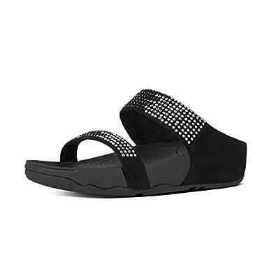 FitFlop Women's Flare Slide Black Leather Fashion Sandals - 5 UK