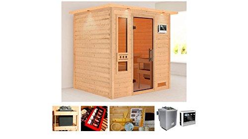 KONIFERA Sauna Rissani, Gesamtmaß: 224x184x191 cm, 38 mm, 9-kW-Bio-Kombiofen 9-kW-Bio-Kombiofen mit externer Steuerung