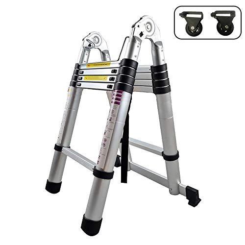 Froadp 320cm Escalera Telescópica Multifuncional Plegable Extensible de Aluminio Capacidad de 150KG...